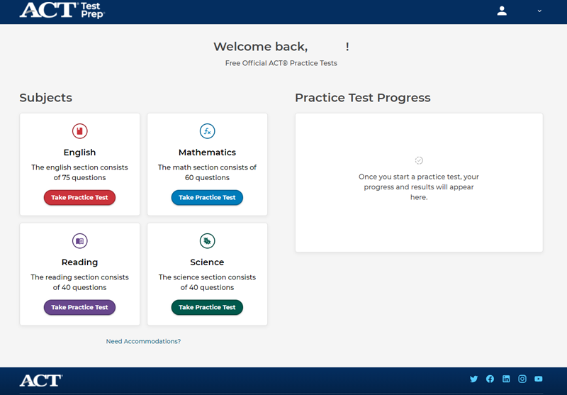 ACT Free Online Tests